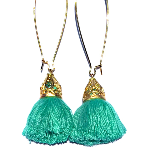 Gold Waikki Tassel Earrings - Mint