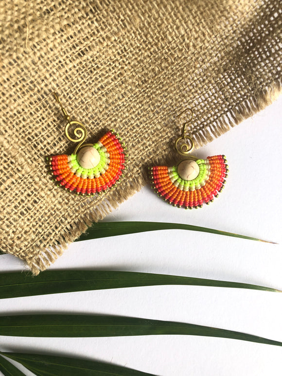 Wax Cord Fan Earrings
