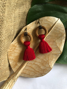Copy of Wooden Tassel Earrings