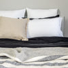 Charcoal Stripe Linen Throw - Little Road Interior Design