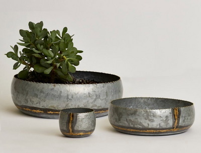 Shallow Galvanised Pots/Bowls - Little Road Interior Design