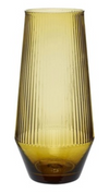 Ribbed Glass Vase - Yellow Amber - Little Road Interior Design