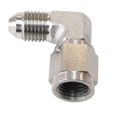 Aeroflow Brake Fitting 90° Male to Female Stainless Steel Hose Ends