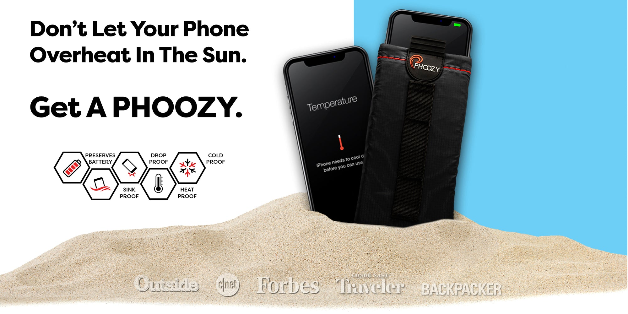 Don't let your phone overheat in the sun. Get a PHOOZY.  iPhone Overheated in sand.  iPhone working properly with full battery inside of PHOOZY XP3 Series Thermal Capsule