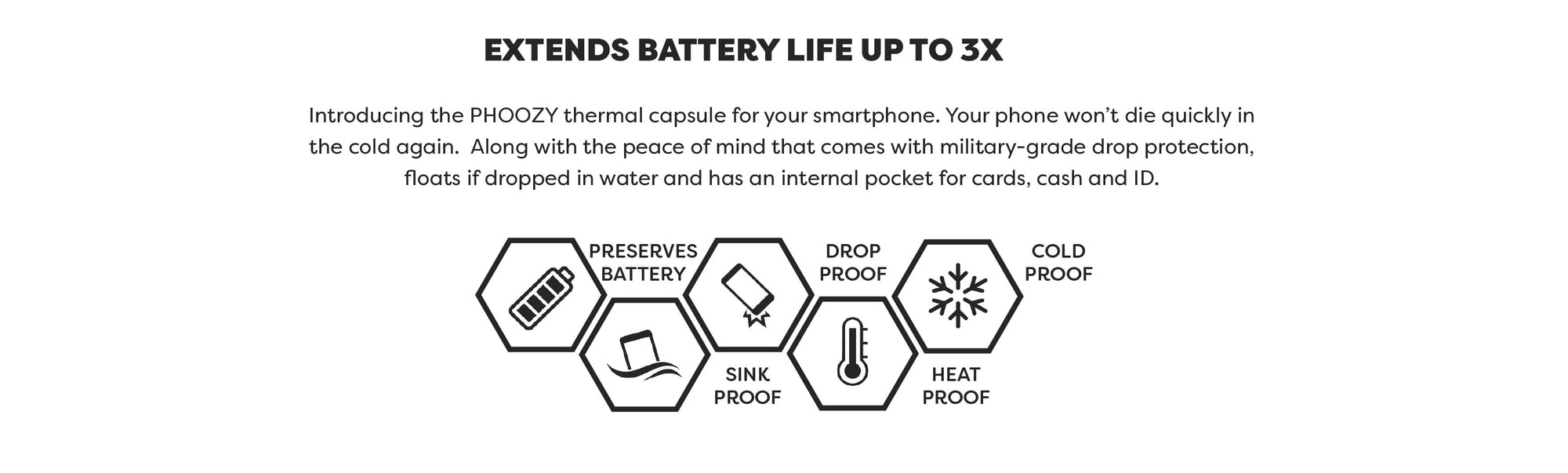 Extend battery life up to 3X with PHOOZY thermal capsules