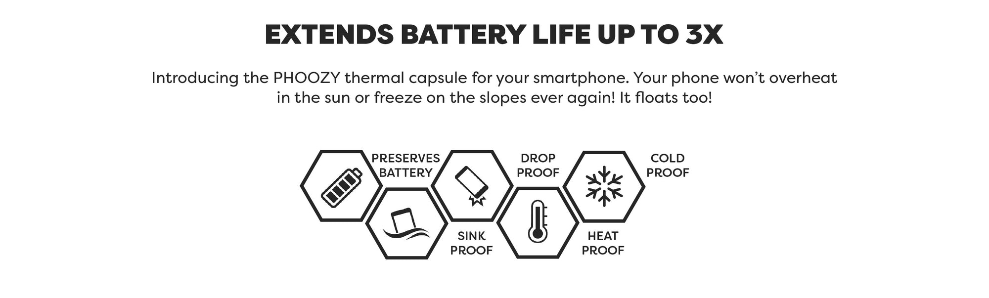 PHOOZY Thermal Capsules Extend Battery Life up to 3X  in cold conditions.