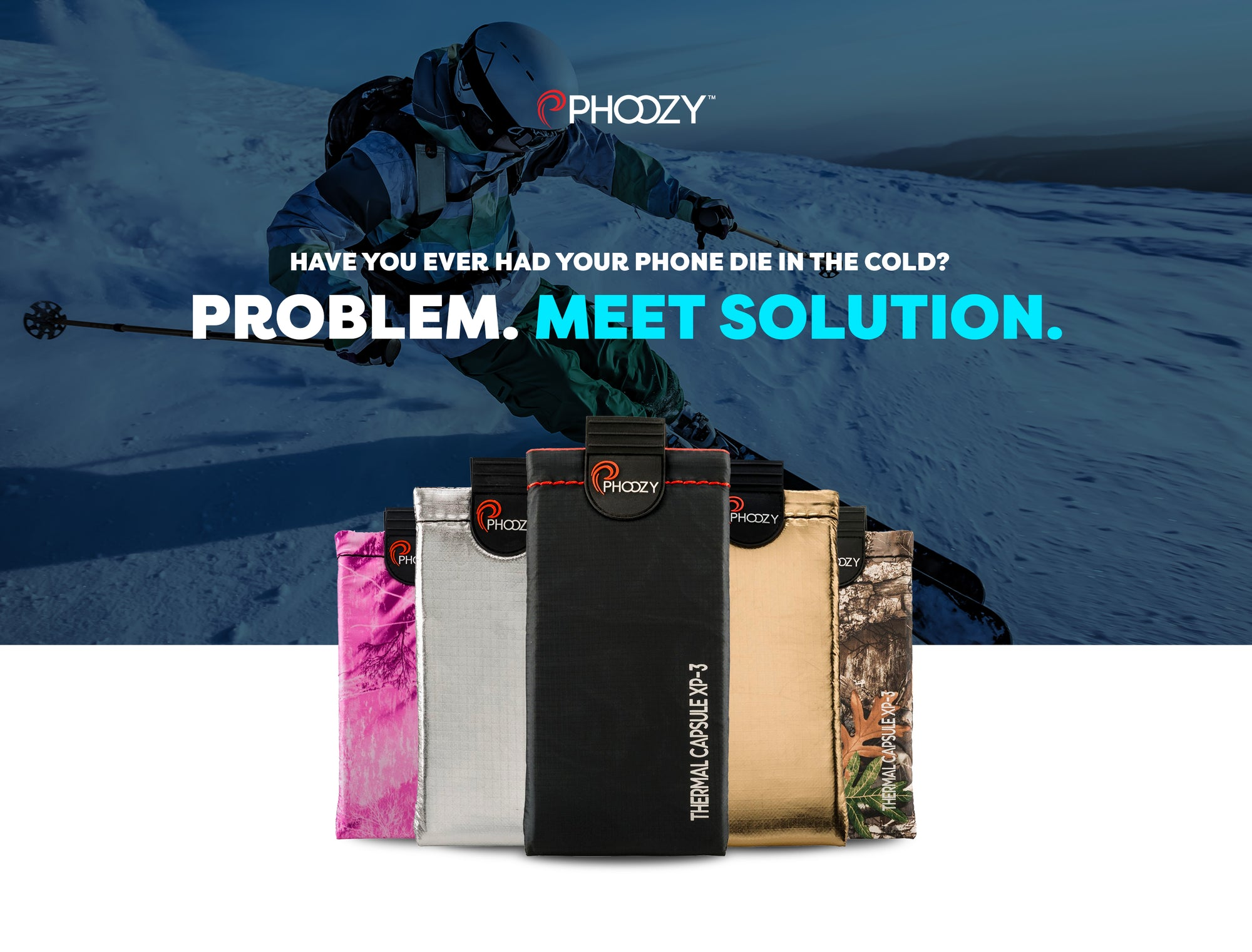 Has your phone ever died in the cold?  Problem.  Meet solution.  Skier skiing with PHOOZY Thermal Capsule.