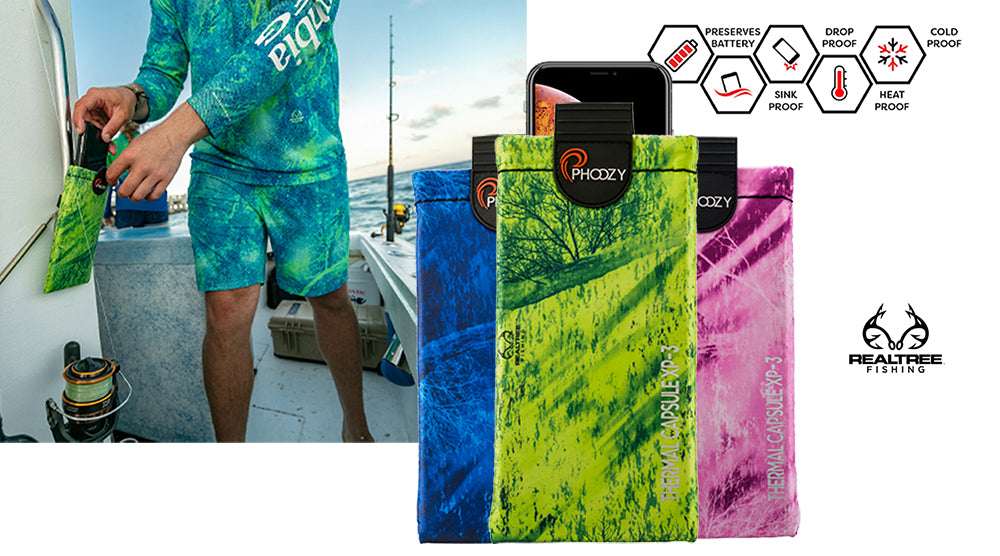 Realtree Fishing Edition PHOOZY XP3 Series Thermal Capsules to protect your phone from the sun and water while fishing