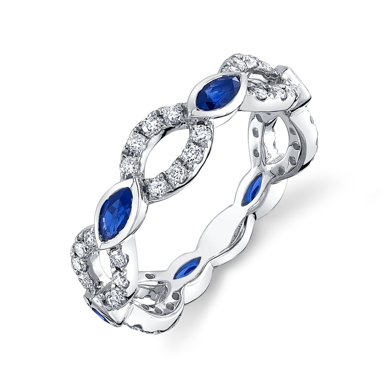 14K White Gold Diamond and Sapphire Angelica Ring