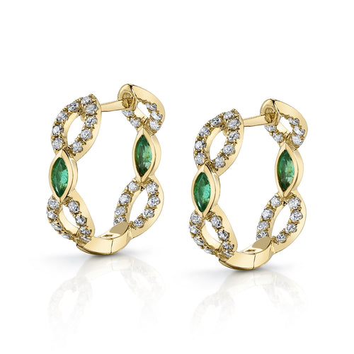 14K Yellow Gold Diamond and Green Emerald Hoop Earrings