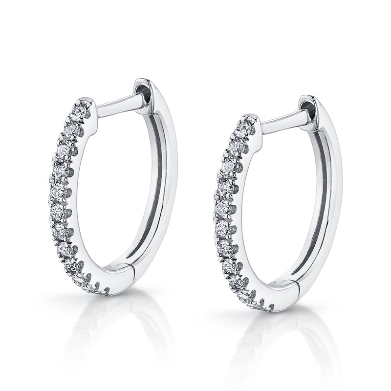 14K Gold Diamond Hoop Earrings