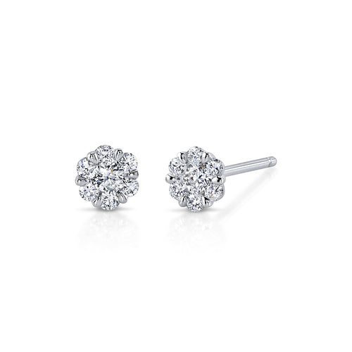 14K White Gold Diamond Illusion Mitra Medium Studs