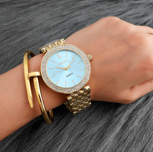 Relogio Feminino Contena Luxury Gold Watch