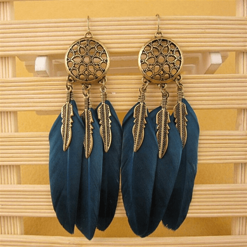 H:HYDE Vintage Leaf Feather Dangle Earrings For Women