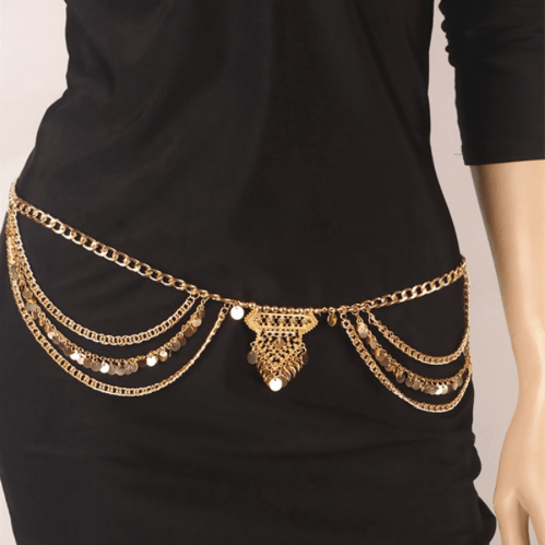 TurkishMetal Dangle Multilayer Sequins Tassel Belly Chain