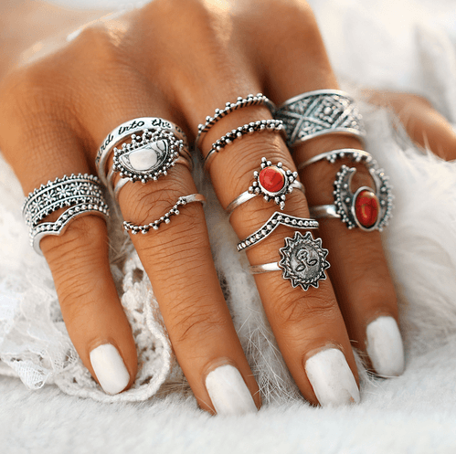 Vintage Bohemian Midi Finger Rings Set for Women