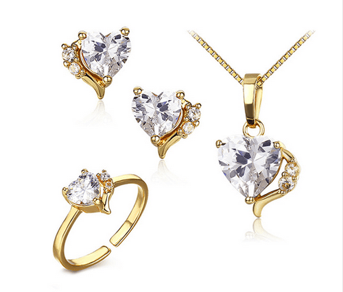 Heart CZ Ring Pendant Necklace and Earrings Small Jewelry Sets For Children