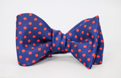 Blue & Red Polka-Dot Bow Tie