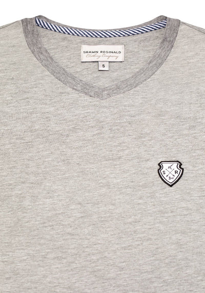 V-Neck Custom T-Shirt Heather Grey