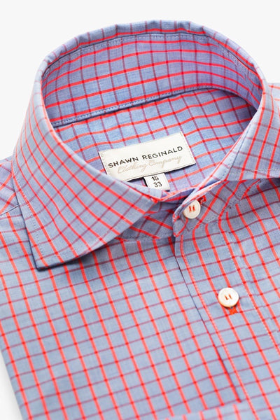 Napa Spread Collar Big Plaid Red/Blue