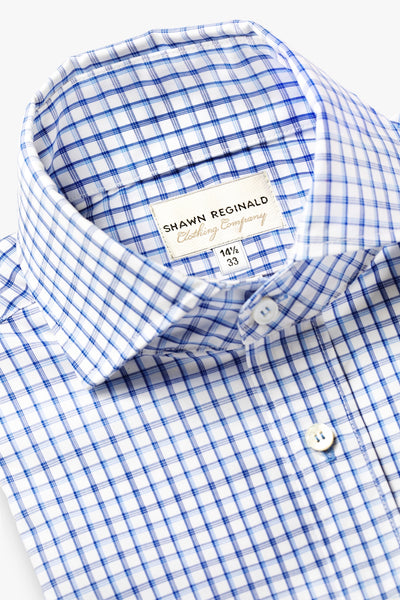 Napa Spread Collar Big Plaid Blue/White