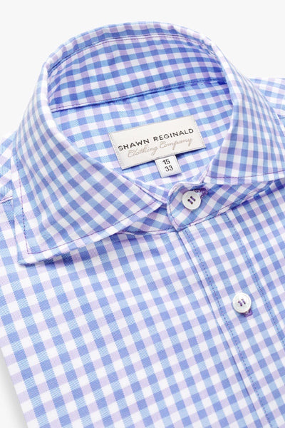 Napa Gingham Spread Collar Lavender/Blue