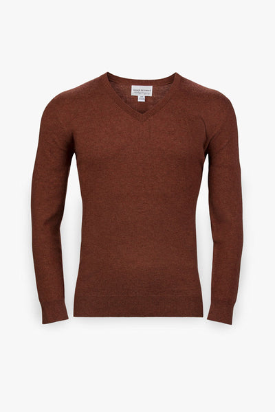Pebble Beach V-Neck Sweater-Rust