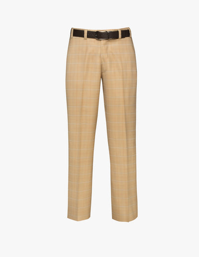 Tahoe Flat Front Trouser Tan Plaid