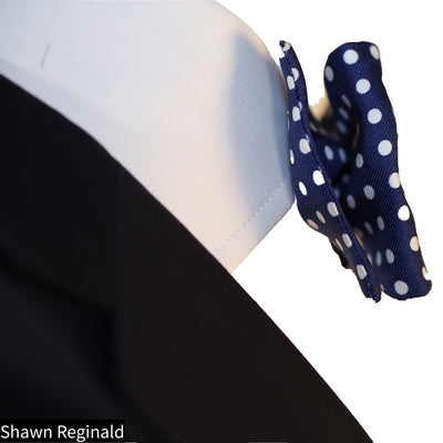 Blue & White Polka-Dot Bow Tie