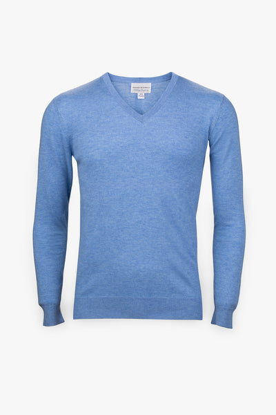 Pebble Beach V-Neck Sweater-Light Blue