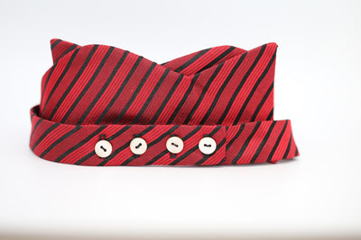 Red With Black Stripes Bow Tie