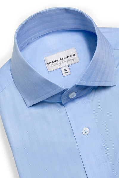 Napa Spread Collar Herringbone (Blue)