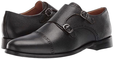 Double Monk Dress Shoe (Black Grainy) by Marc Joseph New York