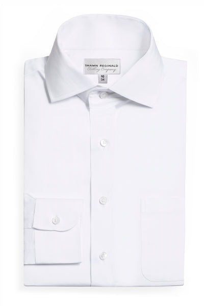 Napa Spread Collar Herringbone (White)