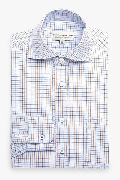 Napa Spread Collar Plaid Blue