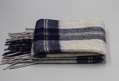 The Wharf Cashmere Scarf (Blue-Grey window pane)