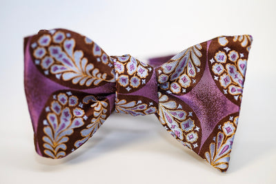 Lavender & Brown Leaf Bow Tie