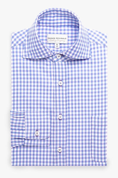 Napa Spread Collar Gingham Lavender/Blue