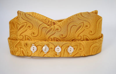 Gold Paisley Print Bow Tie