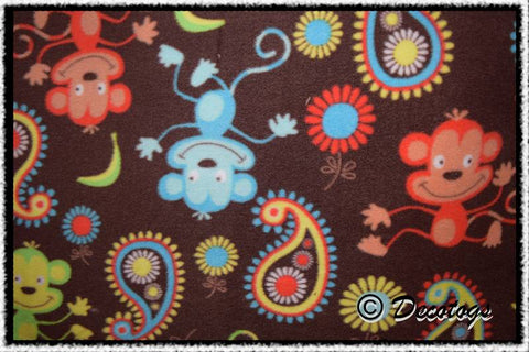 BRIGHT MONKEY PAISLEY BROWN - Custom Pullover or Snugglie