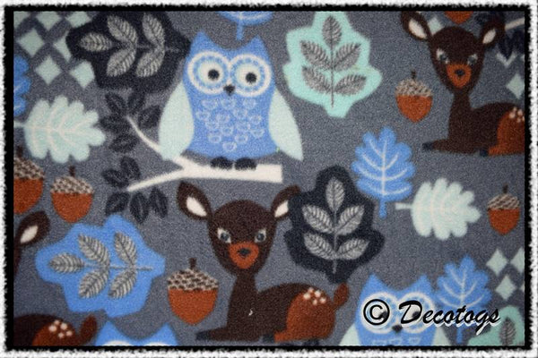 COBALT WOODLAND OWL AND DEER