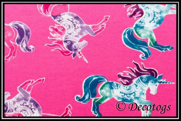 KNIT DOODLES PINK PRANCING  UNICORNS (Summer Weight)