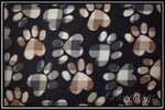 TOSSED PATTERNED PAWS ON BLACK (Plush)