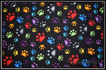 RAINBOW PUPPY PAW PRINTS ON BLACK