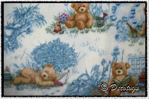 TEDDY BEAR BLUE TOILE (Anti Pill)