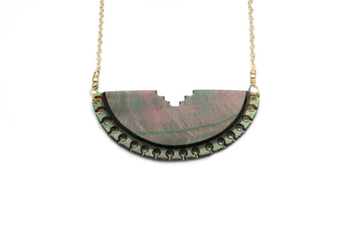 TAHITIAN LACE HALF MOON NECKLACE ON GOLD (DARK)