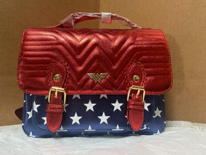 LOUNGEFLY DC COMICS WONDER WOMAN RED WHITE AND BLUE GOLD CHAIN CROSSBODY BAG