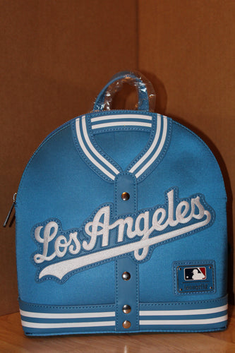 LOUNGEFLY MLB LA DODGERS SATIN JACKET CONVERTIBLE MINI BACKPACK