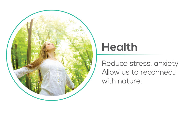 Planting trees impact to Health - reduce stress, anxiety, allow us to reconnect with nature
