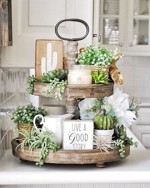 Succulent Tiered Stand Decor for Thanksgiving